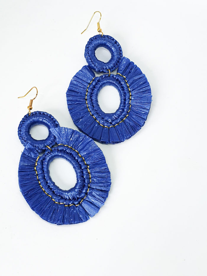 Blue Raffia Earrings by Mereketé   Inspire Me Latin America
