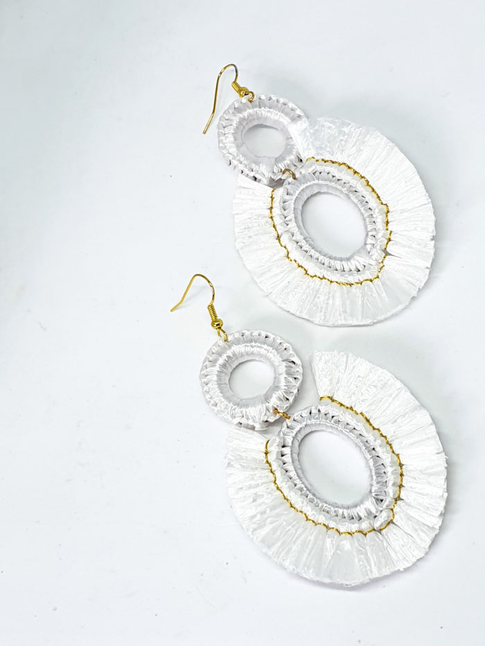 White Raffia Earrings by Mereketé | Inspire Me Latin America