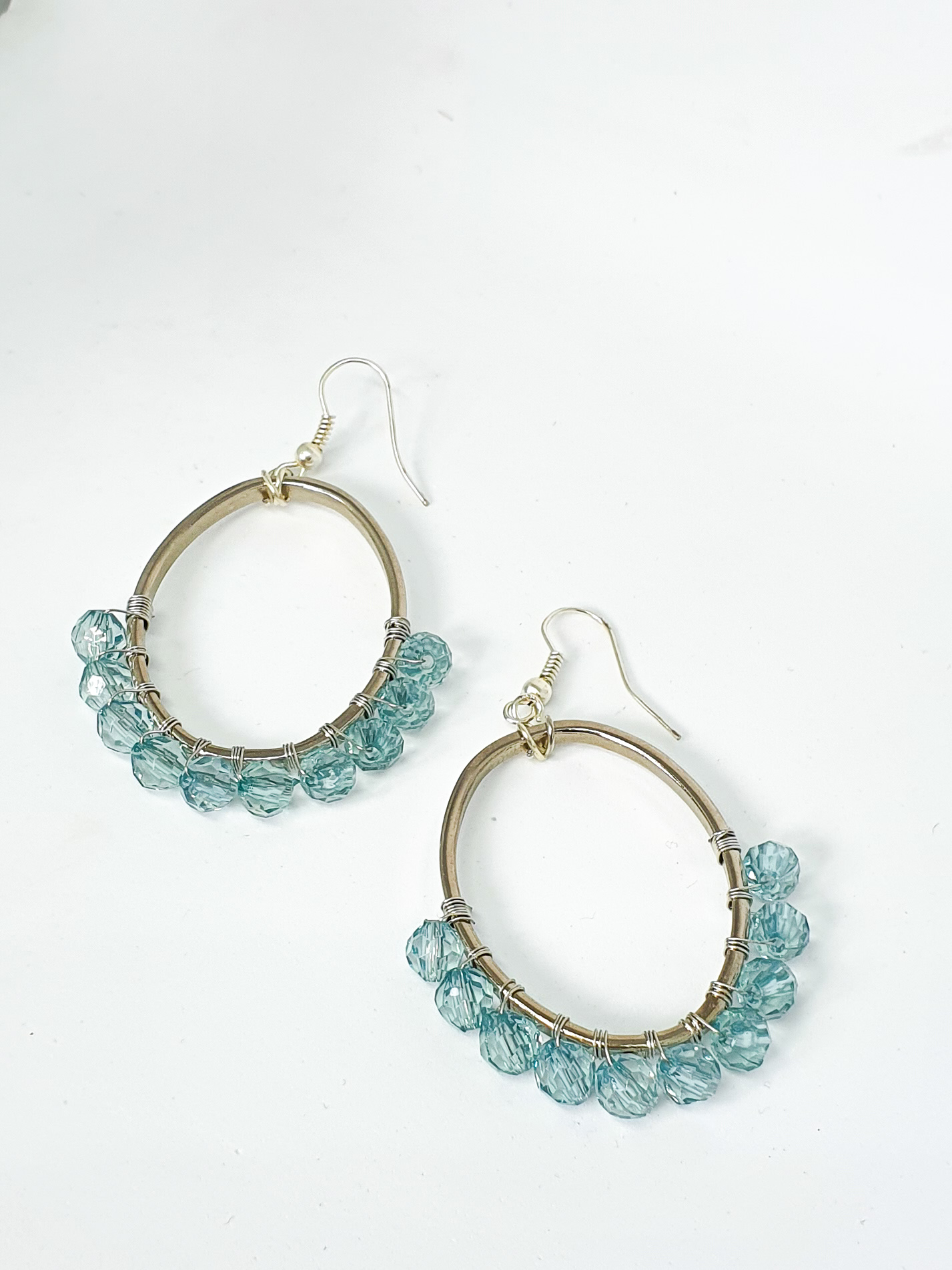 Alambrito Hoops with Blue Beading by Mereketé | Inspire Me Latin America