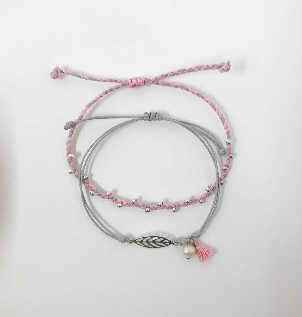 Pink and Grey Inspire Me Latin America Signature Bracelet Set by Zila | Inspire Me Latin America