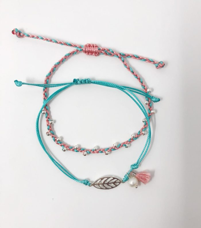 Pink and Teal Inspire Me Latin America Signature Bracelet Set by Zila | Inspire Me Latin America