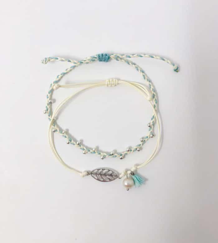 Teal and Cream Inspire Me Latin America Signature Bracelet Set by Zila | Inspire Me Latin America