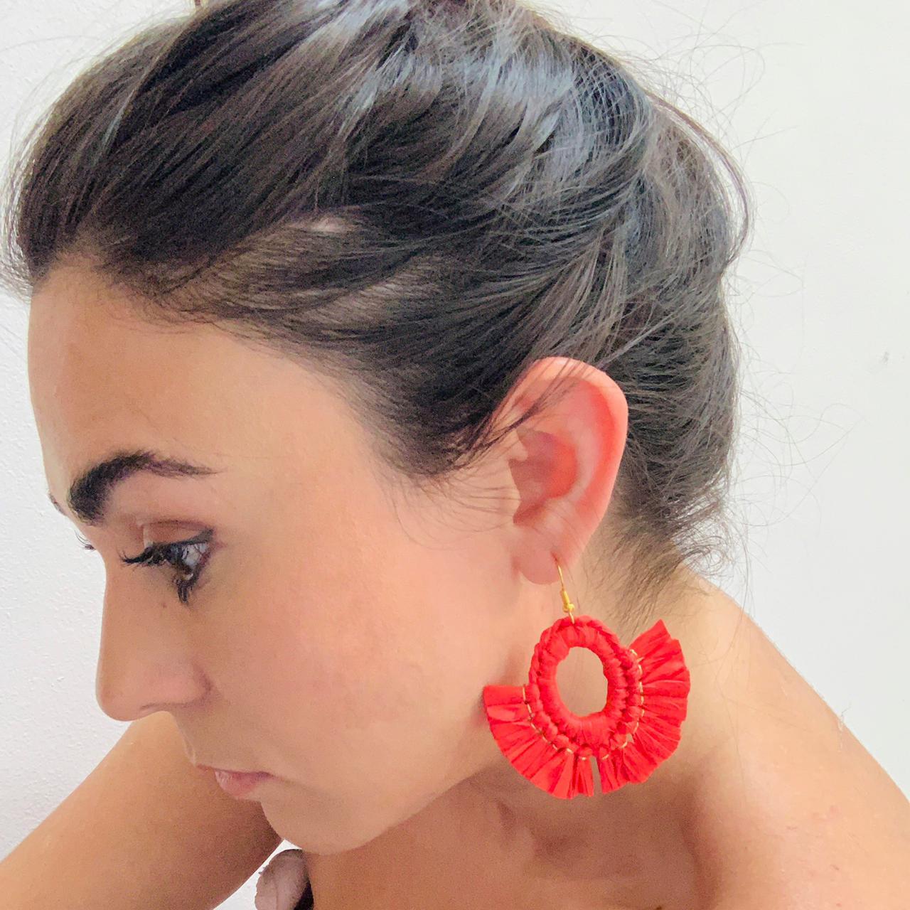 Red Raffia Earrings by Mereketé | Inspire Me Latin America