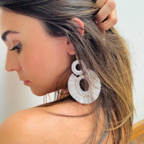 Red Raffia Earrings by Mereketé | Inspire Me Latin America