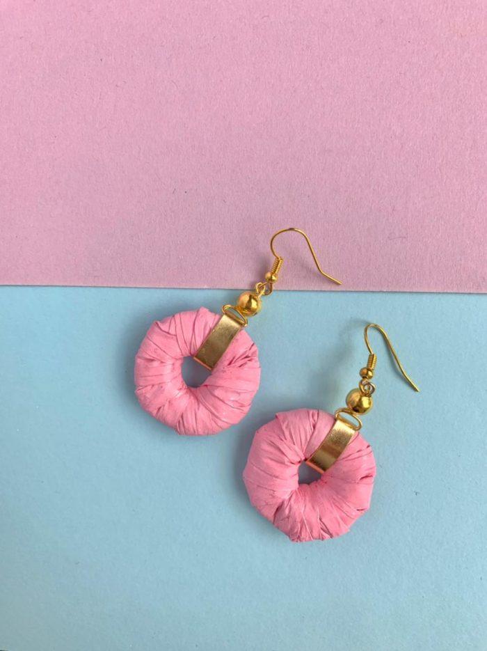 Pink Paper Hoop Earrings by Mereketé | Inspire Me Latin America