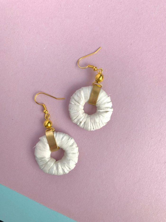 White Paper Hoop Earrings by Mereketé | Inspire Me Latin America