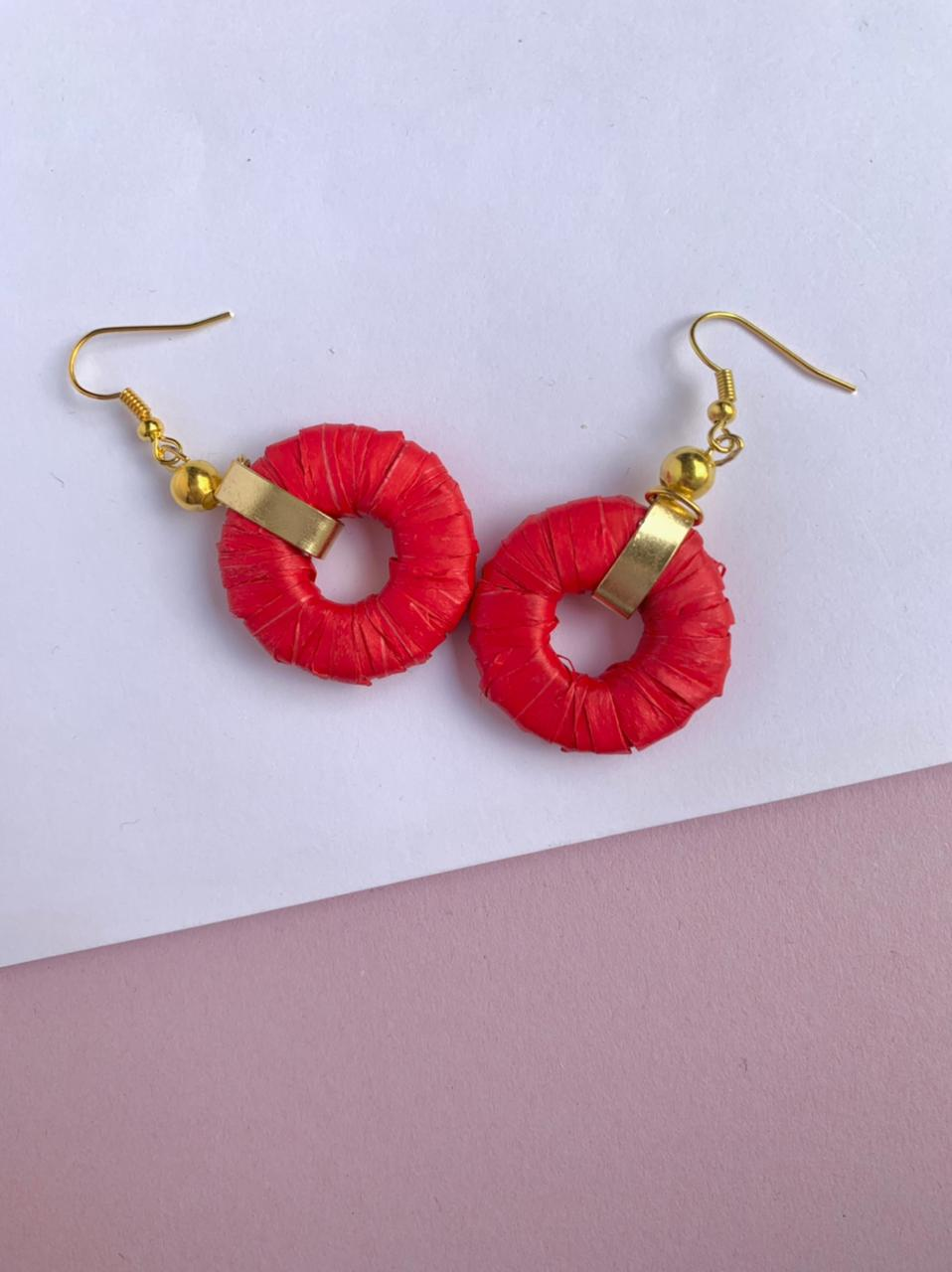 Red Paper Hoop Earrings by Mereketé | Inspire Me Latin America