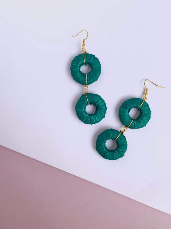 Green Paper Hoop Earrings by Mereketé | Inspire Me Latin America