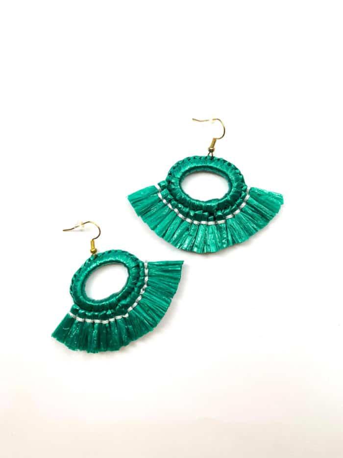 Green Raffia Earrings by Mereketé | Inspire Me Latin America