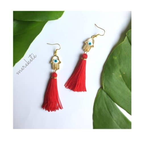 Hamsa Tassel Earrings by Mereketé | Inspire Me Latin America